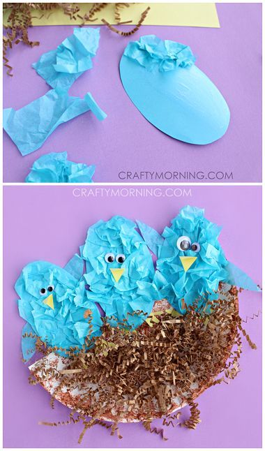 Tissue Paper Blue Birds in a Nest (Spring craft for kids). Make blue birds out of tissue paper in a nest! Cute spring craft for kids to make. See more: http://www.craftymorning.com/tissue-paper-blue-birds-in-a-nest/