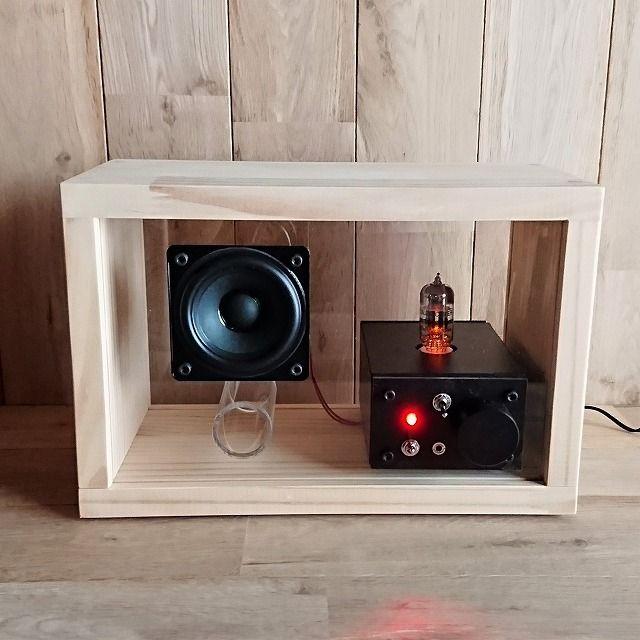 ハンドメイドマーケット+minne(ミンネ)|+acrylic+speaker+pine+[真空管アンプ内蔵]