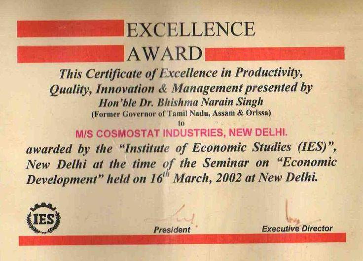 Winner of excellence award