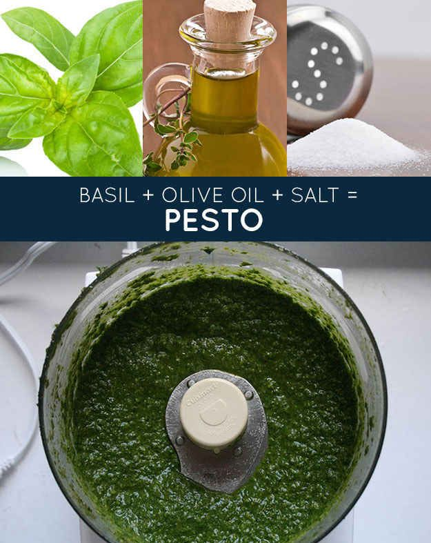 basil + olive oil + salt = pesto