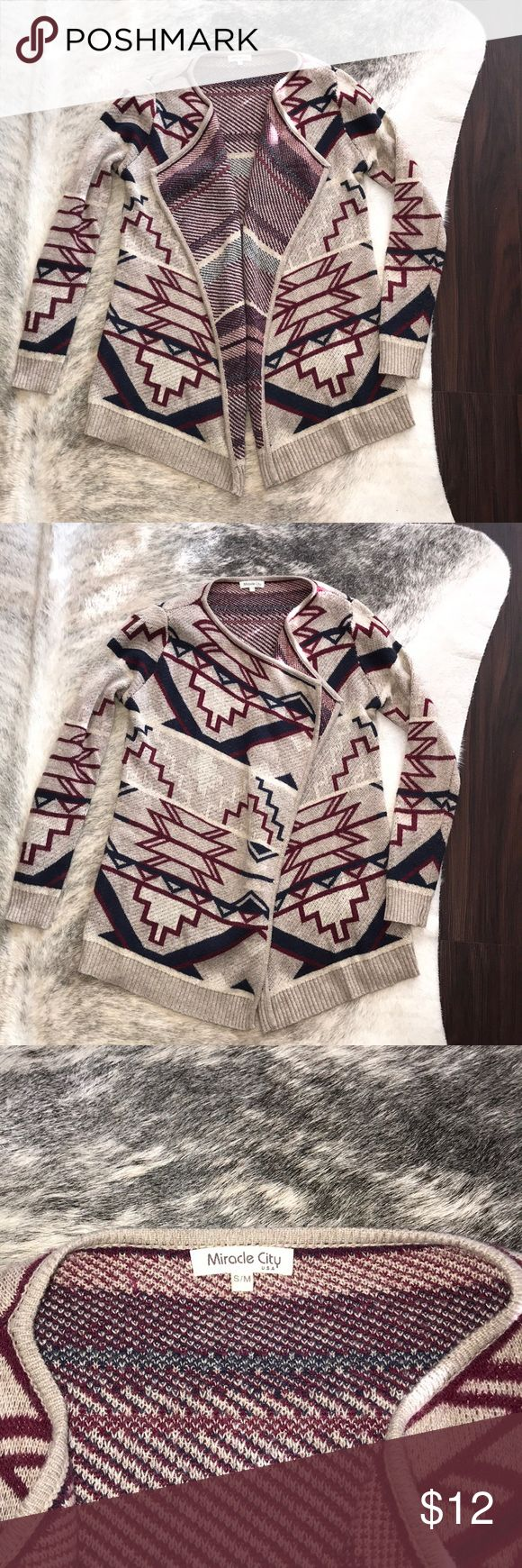 Women's Southwest/Aztec Sweater Cardigan Size S/M Gently used women's Aztec/Southwest style sweater cardigan. Very cute and in great used condition. No visible signs of wear as shown in pictures. Size small/medium. Was a small boutique purchase! Miracle City Sweaters Cardigans