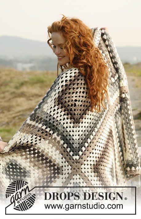 """Gehaakte DROPS dekens van 1 groot vierkant of 6 kleine gehaakte vierkanten van """"Lima"""". ~ DROPS Design"""