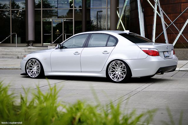 "E60 BMW 5 series on ""Super Concave"" Rotiform BLQs ... rear shot"