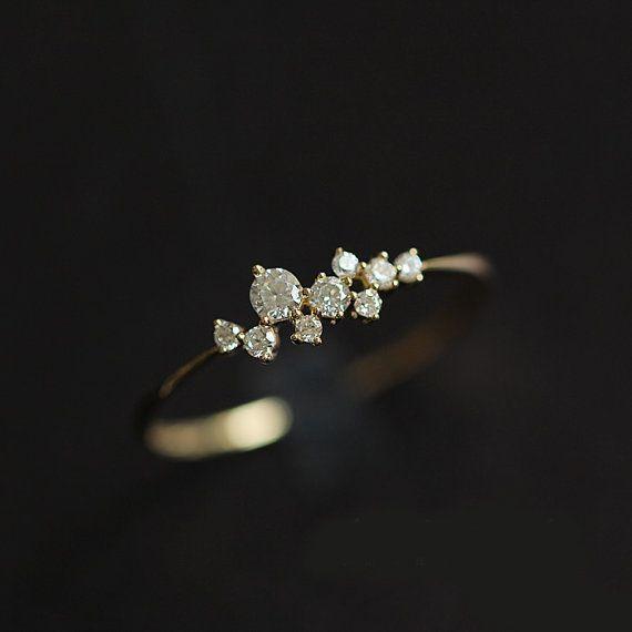 Danity Moissanite Engagement Ring 14K by Donatellajewelry on Etsy