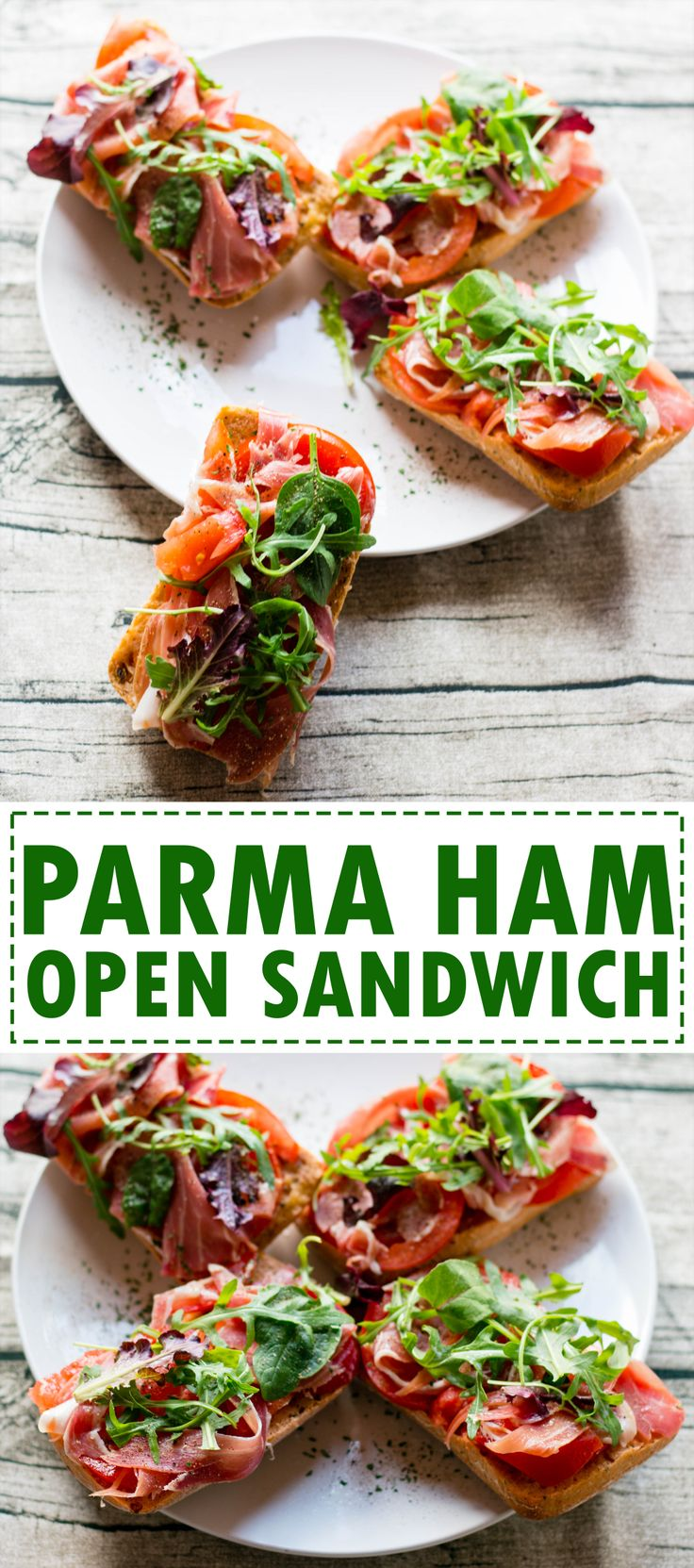 Parma ham open sandwich, healthy and light meal. Can be prepared in under 10 minutes.