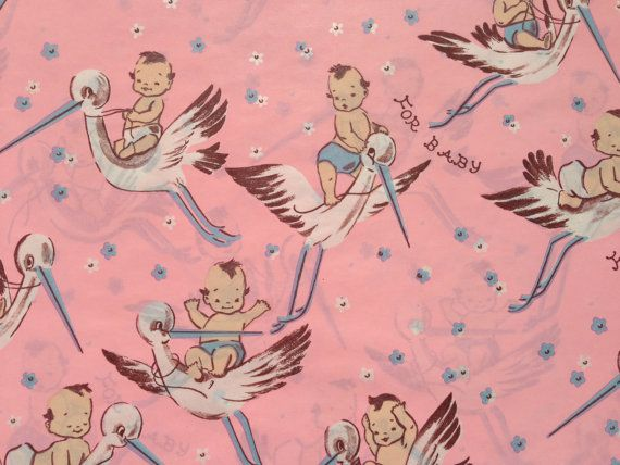 Vintage Gift Wrapping Paper - Pretty in Pink Stork Delivery - Baby Girls - by Dennison - 1 Unused Full Sheet Baby Shower Wrap