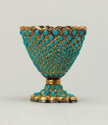 A QAJAR TURQUOISE INSET GOLD CUP (ZARF)  IRAN, 19TH CENTURY