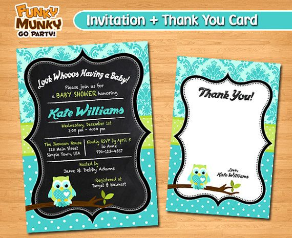 Owl Baby Shower Invitation Baby Shower by funkymunkygoparty