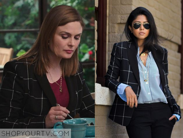 Bones: Season 10 Episode 11 Brennan's Black Grid Blazer