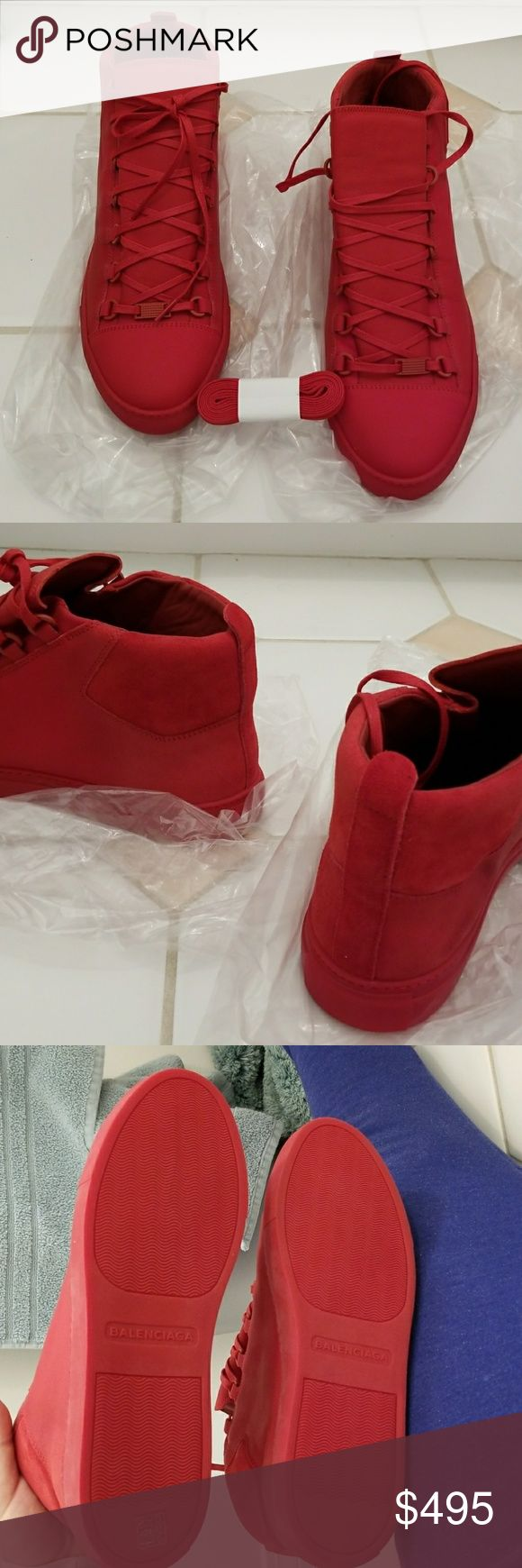 UNWORN Red Balenciaga Arena. AUTHENTIC. NO TRADE High top leather sneakers by Balenciaga, mint condition, not worn even once.  Size 10.5 European size 44. This is a dead stock, NO receipt, it is as authentic as it gets. NO trades, must pay for shipping. Balenciaga Shoes Sneakers