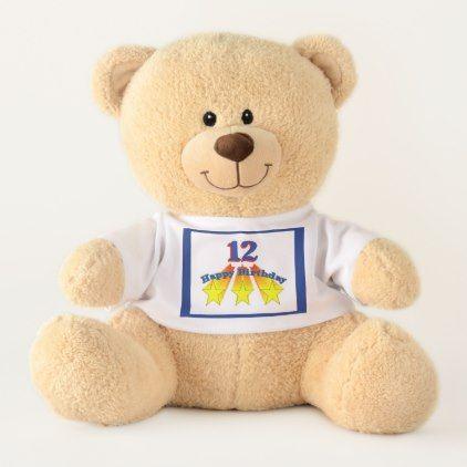Happy Birthday 12-year-old Teddy Bear  $48.66  by heavenly_sonshine  - custom gift idea