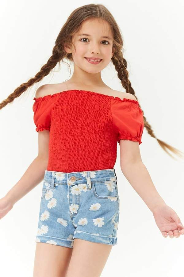 Girls Daisy Graphic Denim Shorts Kids Zip Graphics