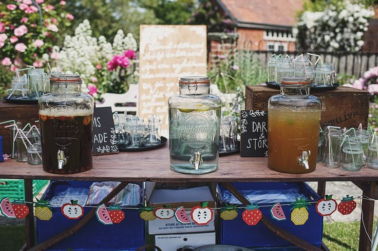 Kilner Jar Drinks Dispenser - Anna Hardy Photography | Garden Party Wedding DIY Decor | Vintage Lace Wedding Dress | Floral Print Bridesmaid Dresses | Wild Flowers