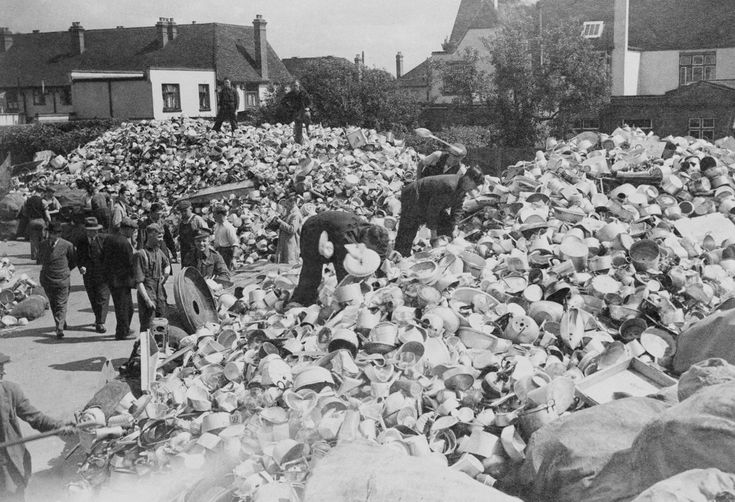 These huge piles of aluminum pots and pans were... - Historical Times
