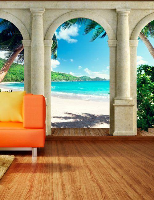 Carta da Parati Colonne sulla Spiaggia Carta da Parati Fotomurale Tema Paesaggi