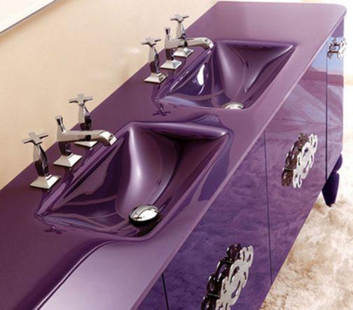 purple sinks home decor interior - Purple Home Decor