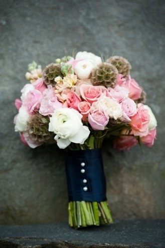 Coral & Navy - Vermont Summer Wedding flowers. So lovely and unique. I love the combined flowers in this arrangement.