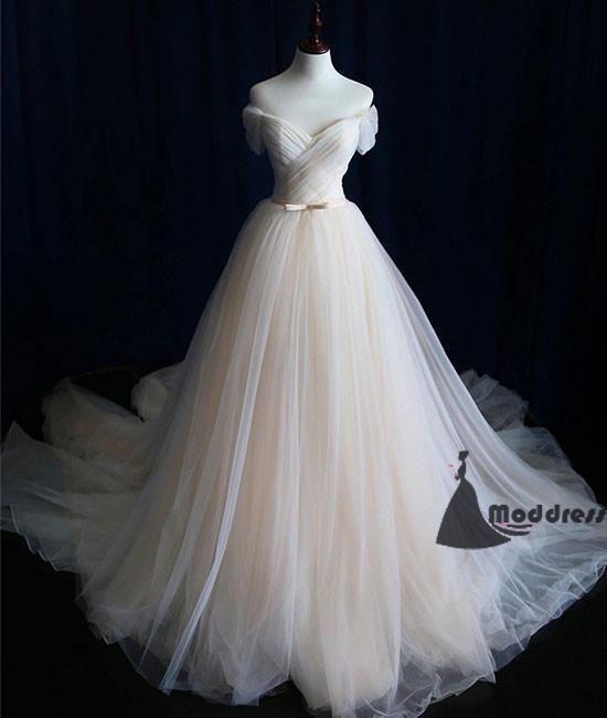 Einfaches langes Abendkleid Tüll aus der Schulter A-Line Fairy Abendkleid, HS396