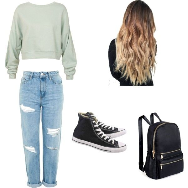 A fashion look from January 2018 featuring Sans Souci sweatshirts, Topshop jeans and Converse sneakers. Browse and shop related looks.
