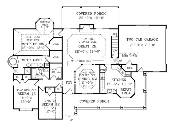 Country farmhouse main floor plan plan for House plans with kitchen sink window