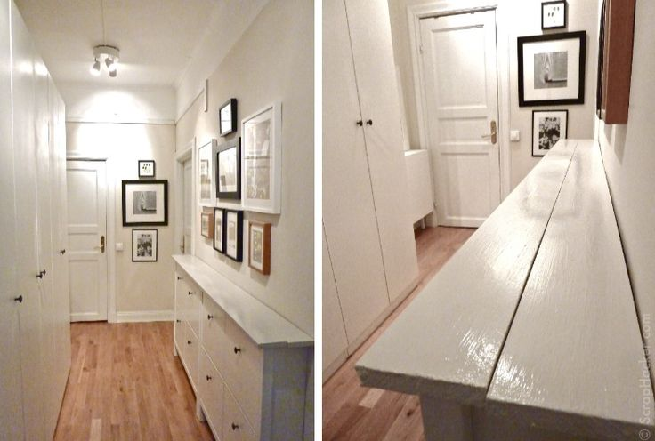 Beautiful Storage in a narrow hallway - Materials: 2 Ikea HEMNES Shoe cabinets, 2 wooden planks, sanding paper, wood sealer, paint, small angle irons    Description: The design of the slim HEMNES shoe cabinet is the perfect solution for my narrow hallway
