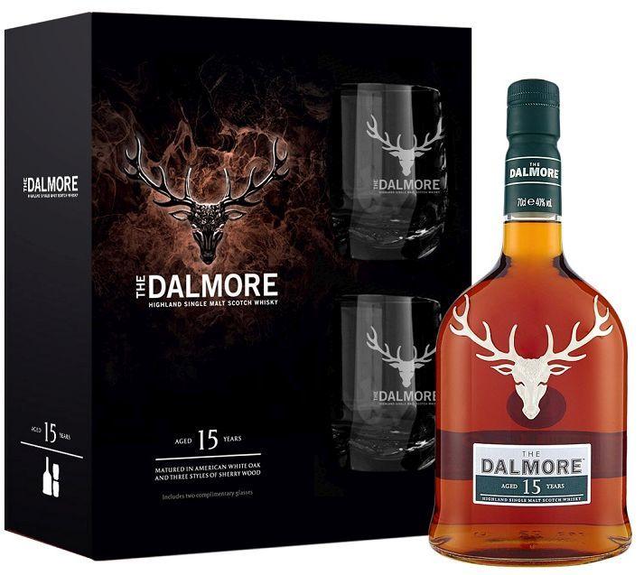 The DALMORE 15 Years Highland Single Malt Scotch Whisky Geschenkset mit 2 Gläsern 70 cl / 40 % Schottland