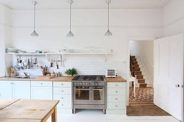 white kitchen, subway tiles, range cooker lightlocations.com