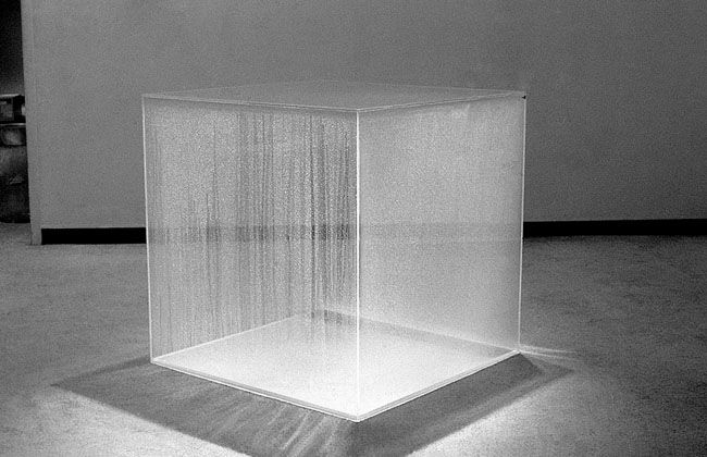 """dromik: """" Hans Haacke, Condensation Cube (exhibited at MIT in 1967 as Weather Cube), large version, 1967. """""""