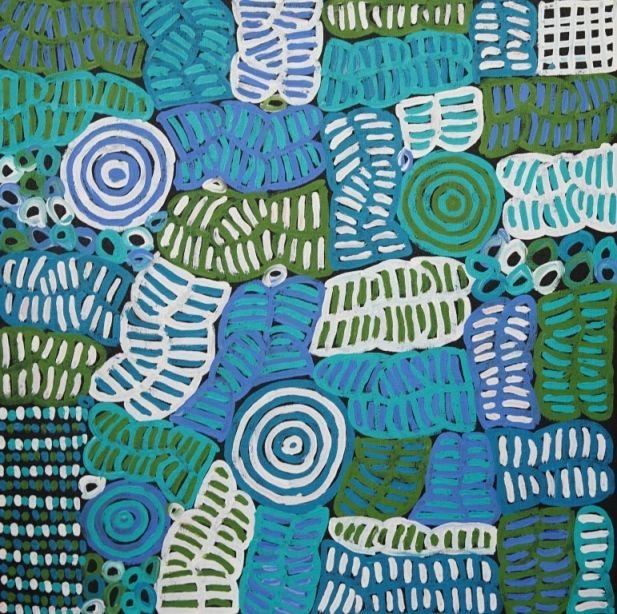 Awelye Body Painting by Betty Mbitjana, 61x61 cm   #AboriginalArt