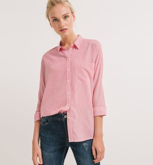 Longue chemise Femme rayé rose fuchsia - Promod