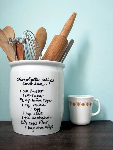 A fun addition to the kitchen: paint a favorite recipe onto a solid-colored, ceramic utensil holder. Even if it's one you pretty much have memorized, it's great to display your recipe with pride. On a personal note, mine would definitely also be a cookie recipe!