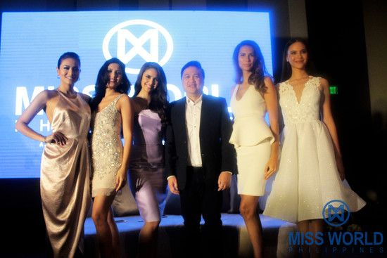 Miss World Philippines Franchise Owner and National Director Arnold Vegafria and Miss World Philippines Queens, Miss World Philippines 2012 Queenie Rehman, Miss World Philippines 2015 Hillarie Parungao, Miss World 2013 Megan Young, Miss World 2011 1st Princess Gwendoline Ruais and Miss World 216 3rd Princess Catriona Gray.  Photo: Dennis Natividad for Miss World Philippines Organization