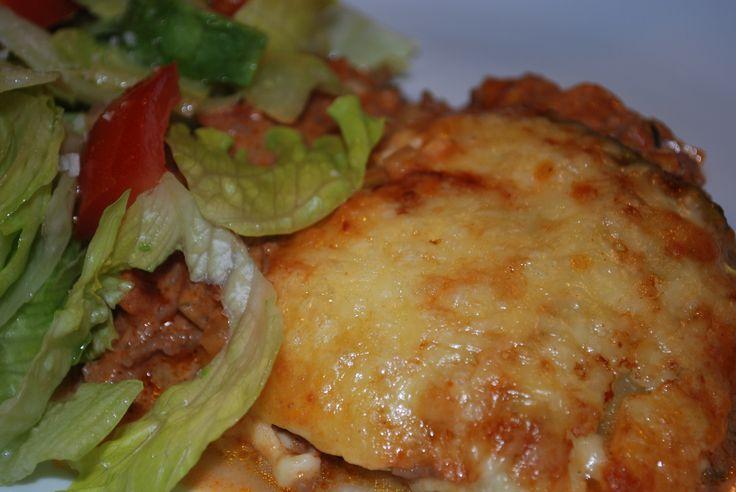 LCHF lasagne med zucchiniplattor.