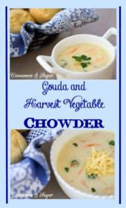 Easy to make and full of vegetables, this Gouda and Harvest Vegetable Chowder uses nutty, buttery cheese for flavoring and will be a healthy family favorite
