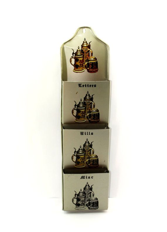 beer stein metal letter organiser wall hanging mail holder letters bills misc