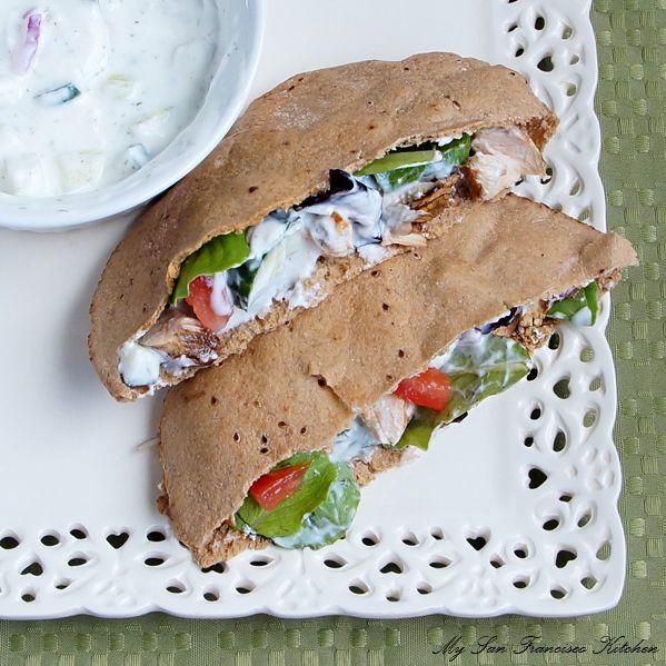 Grilled Chicken Pita with Cucumber Yogurt Dressing by mysanfranciscokitchen Pita Chicken mysanfranciscokitchen