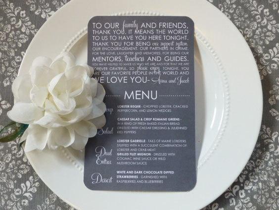 Wedding Reception Menu and Thank you  by ThatPrettyInvitation, $25.00