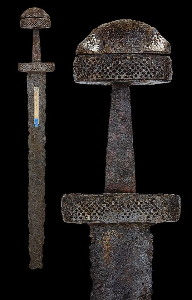 """A Viking Sword of Petersen Type, 9th/10th century, probably Norwegian. Provenance: Acquired from the Paus Collection in 1944. For an almost identical example considered by Petersen to be associated with the Trondheim region of Norway see Ian Peirce, """"Swords of the Viking Age"""", 2002, p. 46, illustrated"""