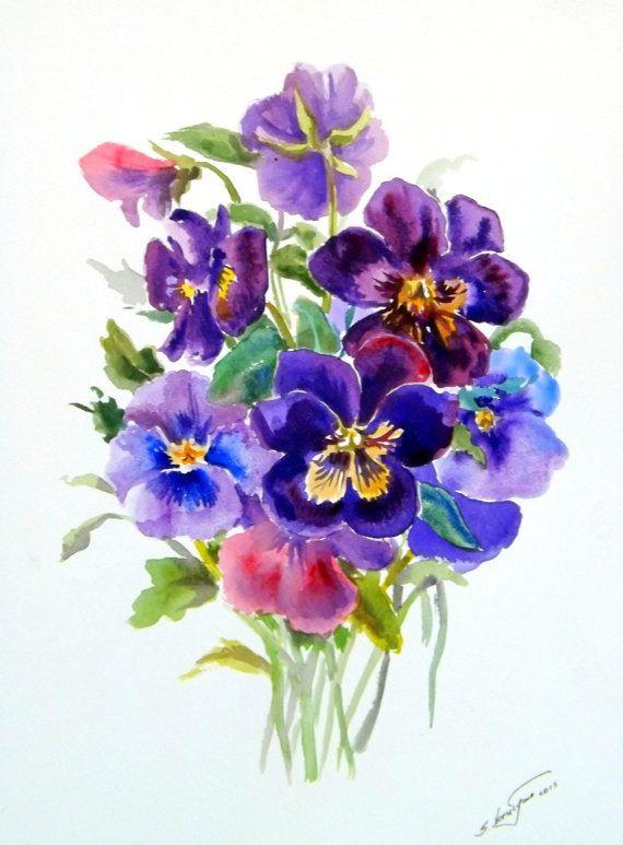 Pansies Original Watercolor Painting 12 X 9 Purple Violet Blue Flowers Garden Abstract
