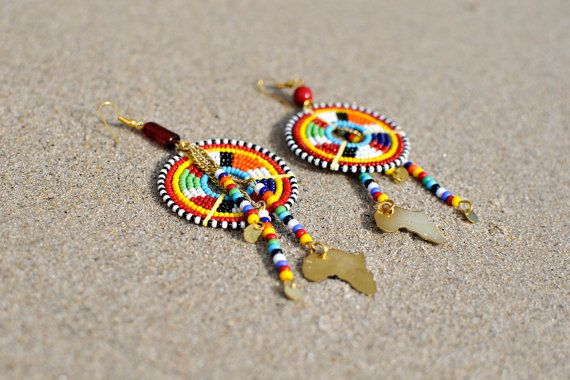 Beaded Earrings | Maasai style | Colorful Earrings | Masai Jewelry | African Design | Masai beads