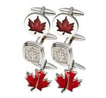 SOUVENIR MAPLE LEAF CUFFLINKS SET. A true symbol for Canada. Made from high quality rhodium plated metal. A great Canadian soouvenir gift for family and friends. http://www.stunningselection.com/souvenir-cufflinks-set.