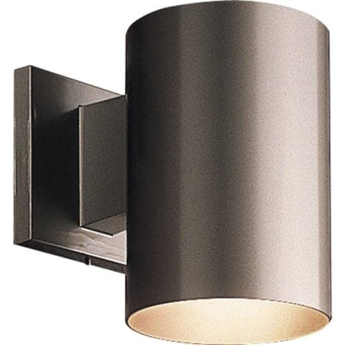 Progress Lighting P5674 Cylinder 1 Light Outdoor Wall Sconce with Metal Cylinder Shade - 7 Tall (Black) (Aluminum)