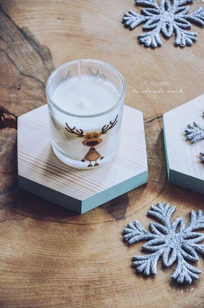 Podstawki pod kubki Heksagonalne miętowe handmade w D2 Studio - Drewno dla Twojego domu na DaWanda.com