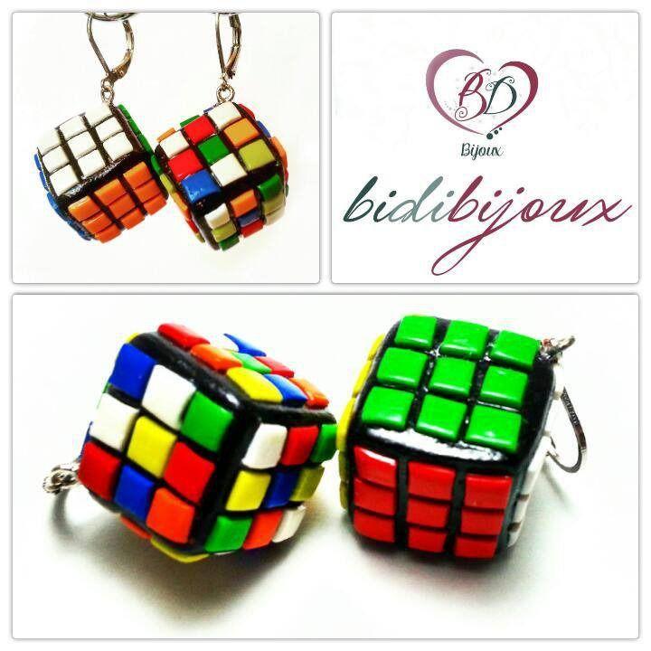 Orecchini cubo di rubik in Fimo : Orecchini di bidibijoux