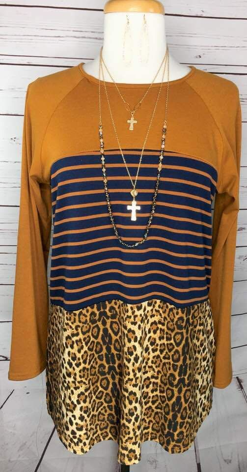 2adfe2e6f914d Mustard Navy Stripe Top with Leopard Print in 2019 | Map dresses ...