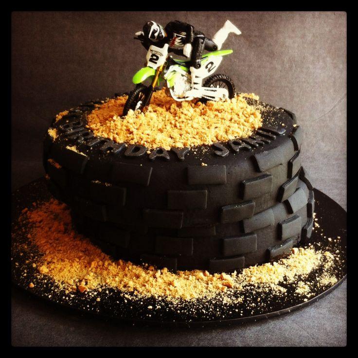 Motor cross themed 21st Birthday cake - non edible motor bike - Cakes by Lou