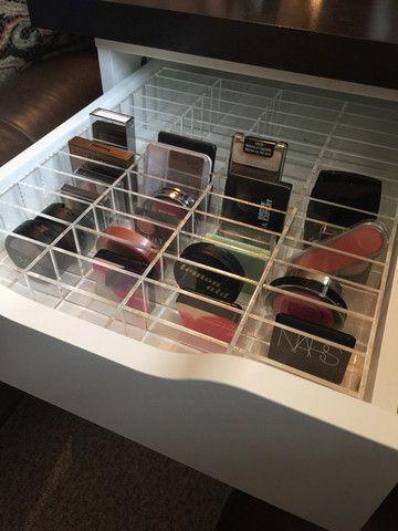 Acrylic Makeup Organizer ALEX 56 compartment drawer divider