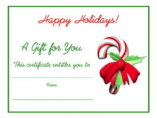 Free blank printable candy cane Christmas holiday gift certificate.
