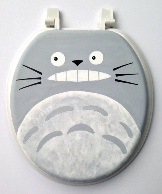 Totoro Hand Painted Toilet Seat Studio Ghibli Geekery Anime An Bathroom Decor Remodel