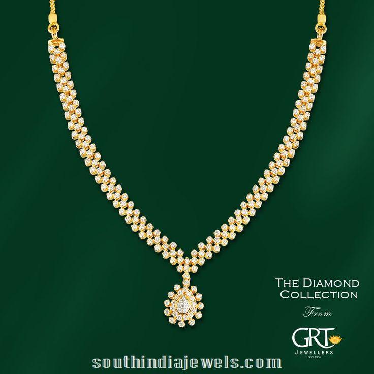 simple diamond necklace model from grt jewellers diamond